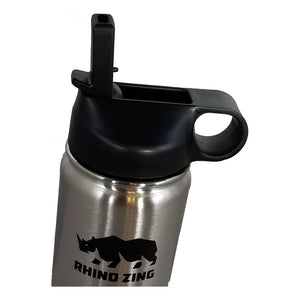 Wide Mouth Straw Lid for the Rhino Zing Water Bottle, Non-Insulated Black - CampWildRide.com
