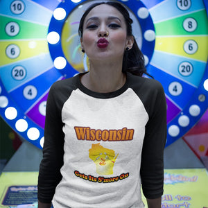 Wisconsin Gets Its S'more On! Novelty Baseball Tee (3/4 sleeves) - CampWildRide.com
