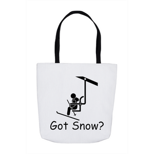 Got Snow? View from the Chair Lift! Novelty Funny Tote Bag Reusable
