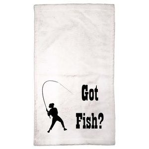 Got Fish? Work that Rod! Novelty Funny Hand Towel - CampWildRide.com