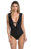 Socialite Ruffle Plunge One Piece
