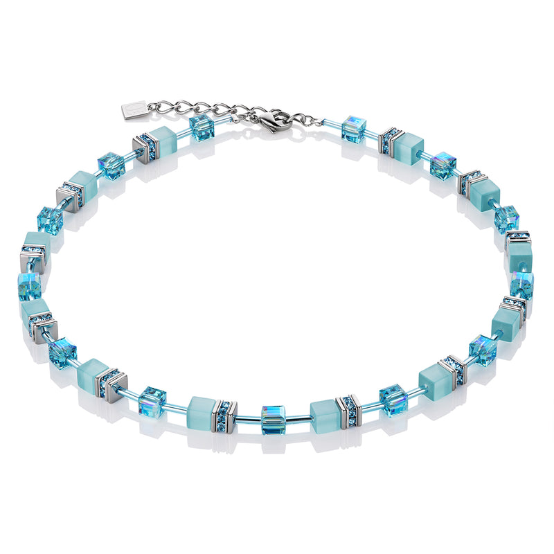 Coeur de Lion Geo Cube Necklace with Swarovski Crystals in Aqua colour