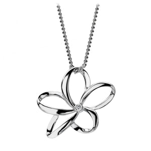 Hot Diamonds Silver Open Flower Pendant with Diamond