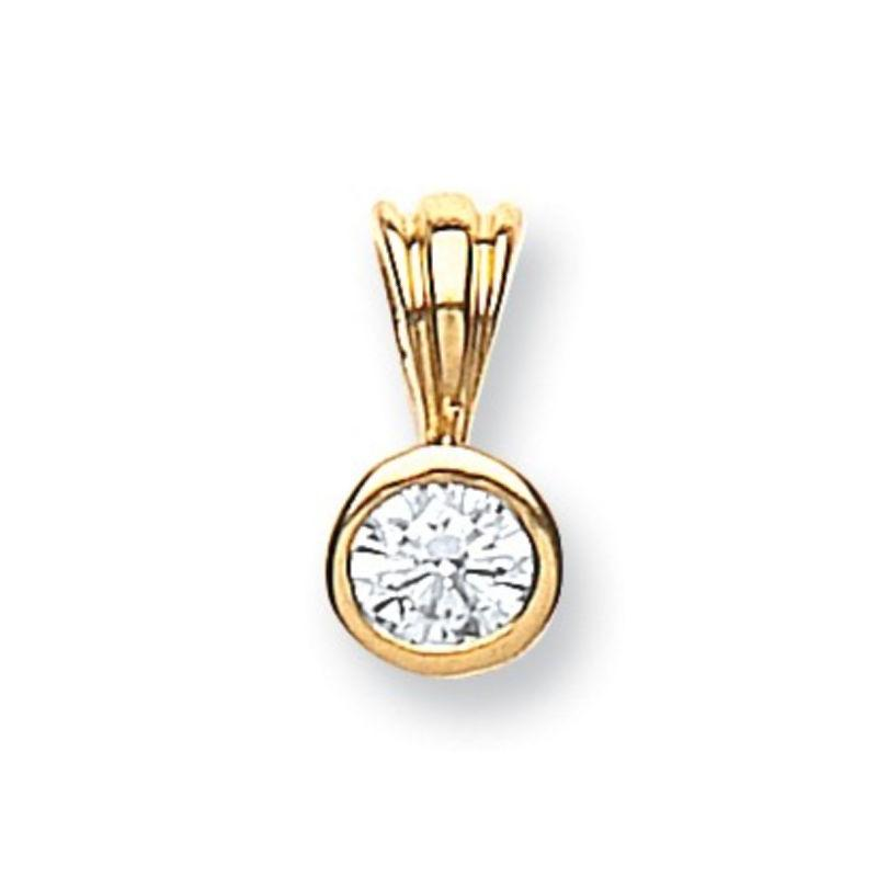 18ct Gold 0.15ct Diamond Solitaire Pendant Jewellery Hanron