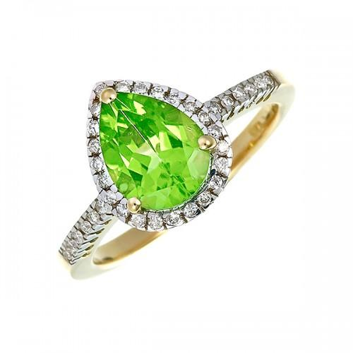 18ct Gold Peridot and Diamond Ring