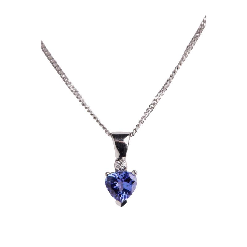 18ct White Gold Tanzanite Heart with Diamond Pendant Jewellery Hanron