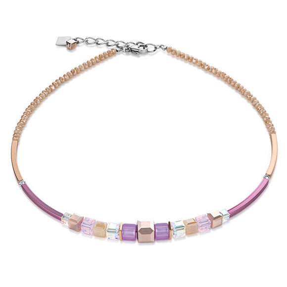 Coeur de Lion rose gold and lilac necklace 4734