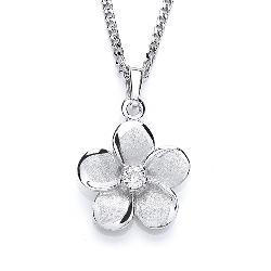 Silver Pendant with CZ Flower