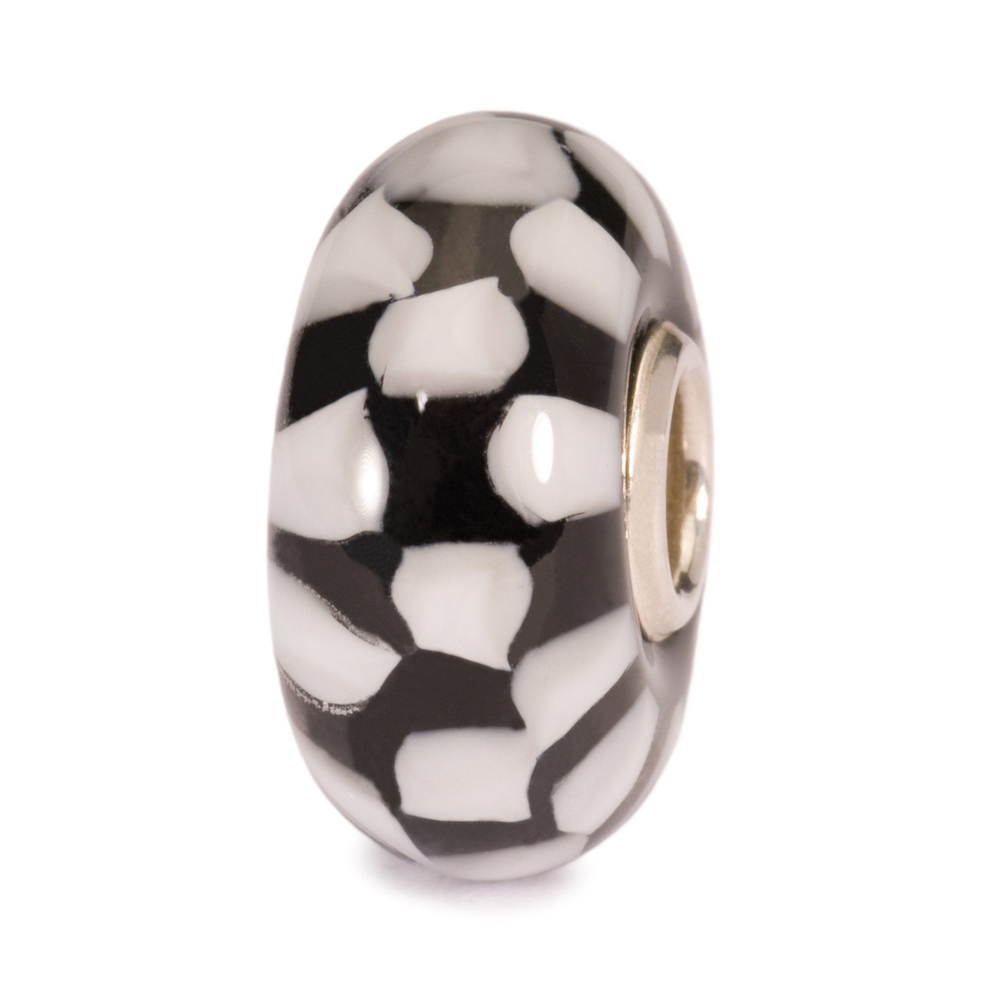Trollbeads Italian glass bead called Chess, in a black and white checkerboard style