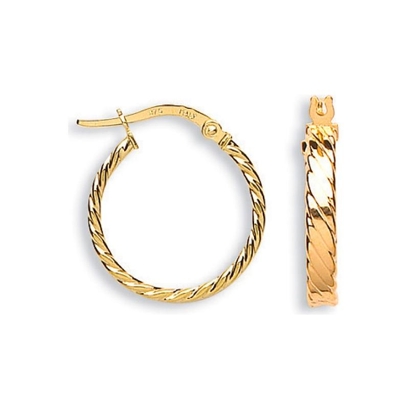 9ct Gold Twist Hoop Earrings Jewellery Hanron