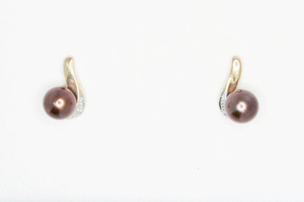 9ct Gold Earrings with Chocolate Pearl and Diamonds