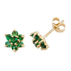 9ct Gold Emerald Flower Earrings
