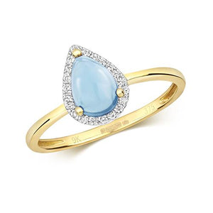 9ct Gold Diamond and Blue Topaz Cabochon Ring