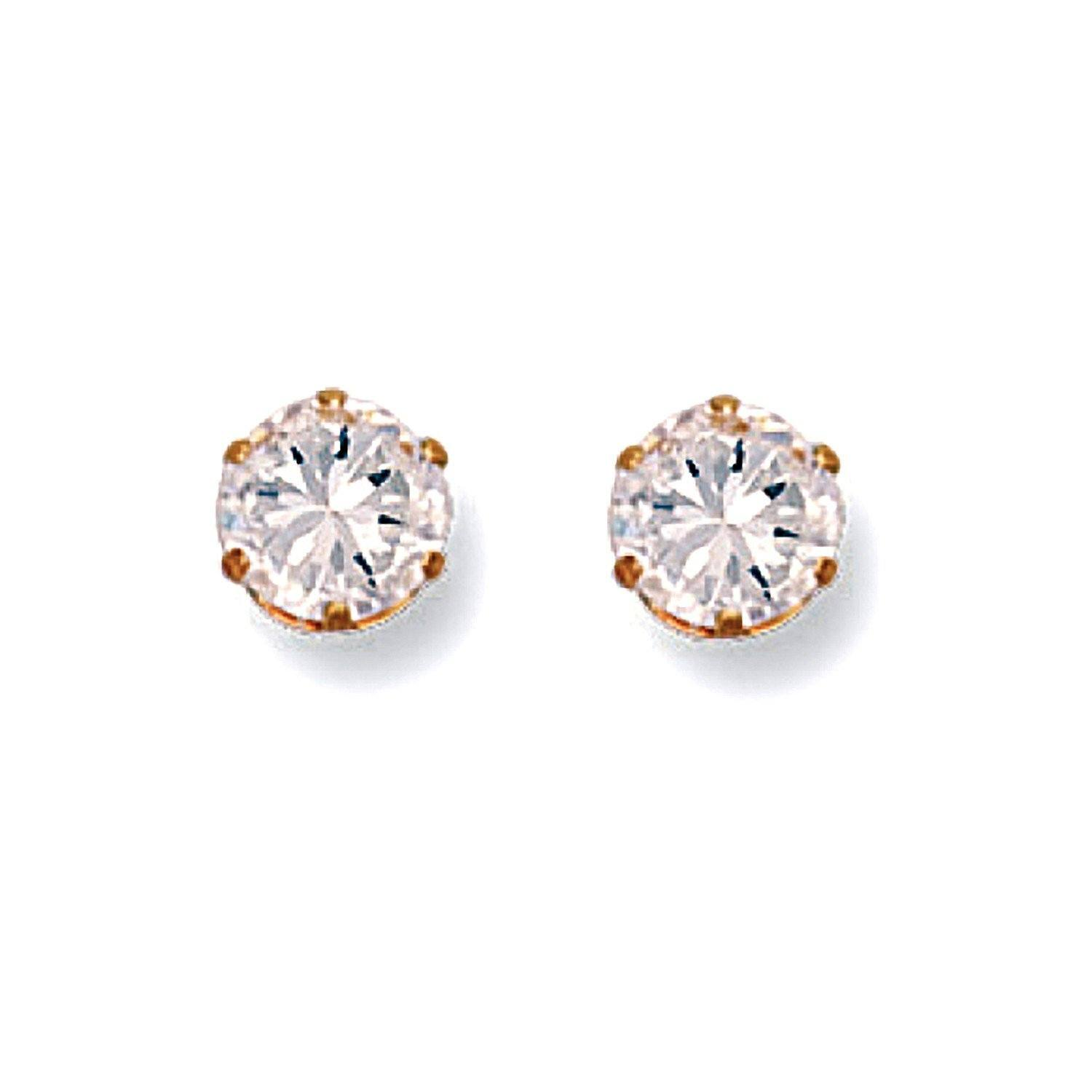 Gold CZ Stud Earrings 6 mm Jewellery Hanron
