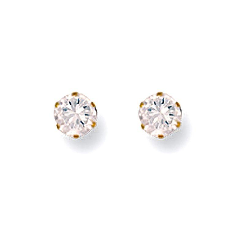 Gold CZ Stud Earrings 4 mm Jewellery Hanron