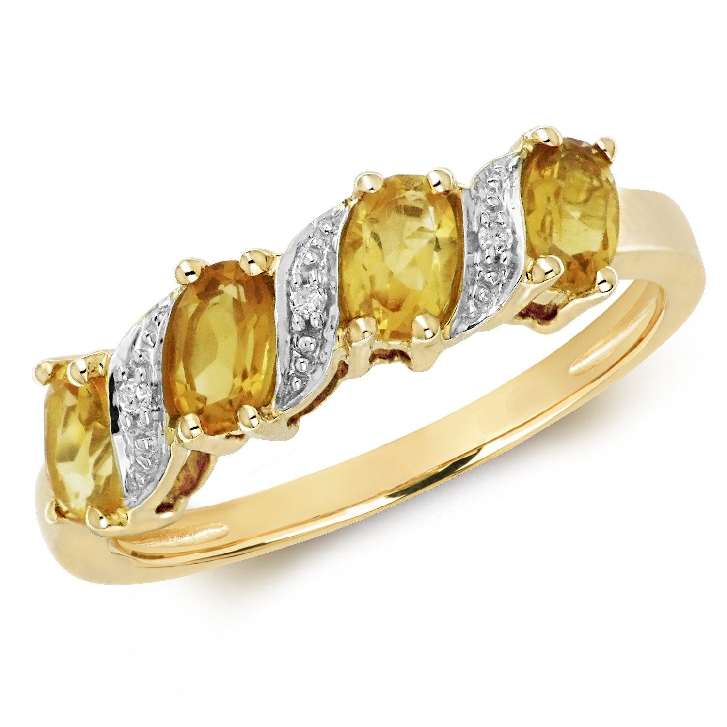 9ct Gold Citrine and Diamond Ring Jewellery Treasure House Limited