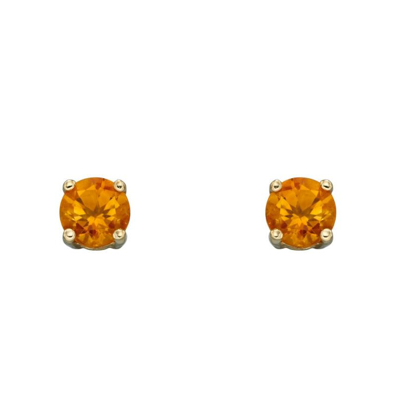 Gold Citrine Stud Earrings Jewellery Ian Dunford