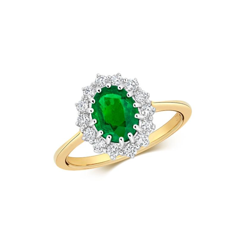 gold emerald and diamond cluster ring