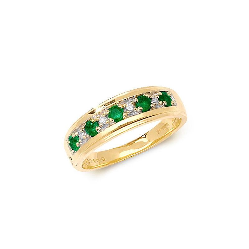 gold half-eternity ring with alternate emeralds and diamonds