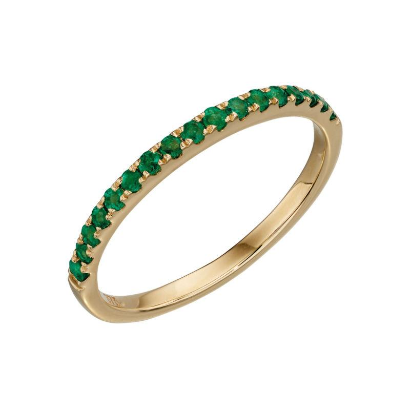 9ct Yellow Gold Emerald Half Eternity Pave ring