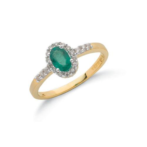Gold Emerald Ring With Diamond Halo and Shoulders Jewellery Hanron J