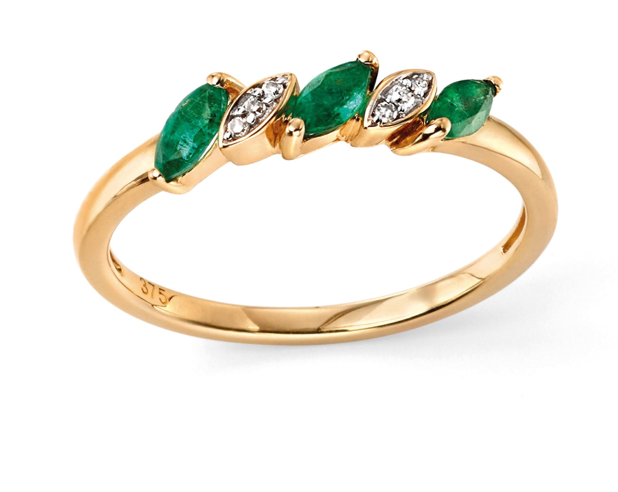 Gold Emerald and Diamond Ring Jewellery Gecko