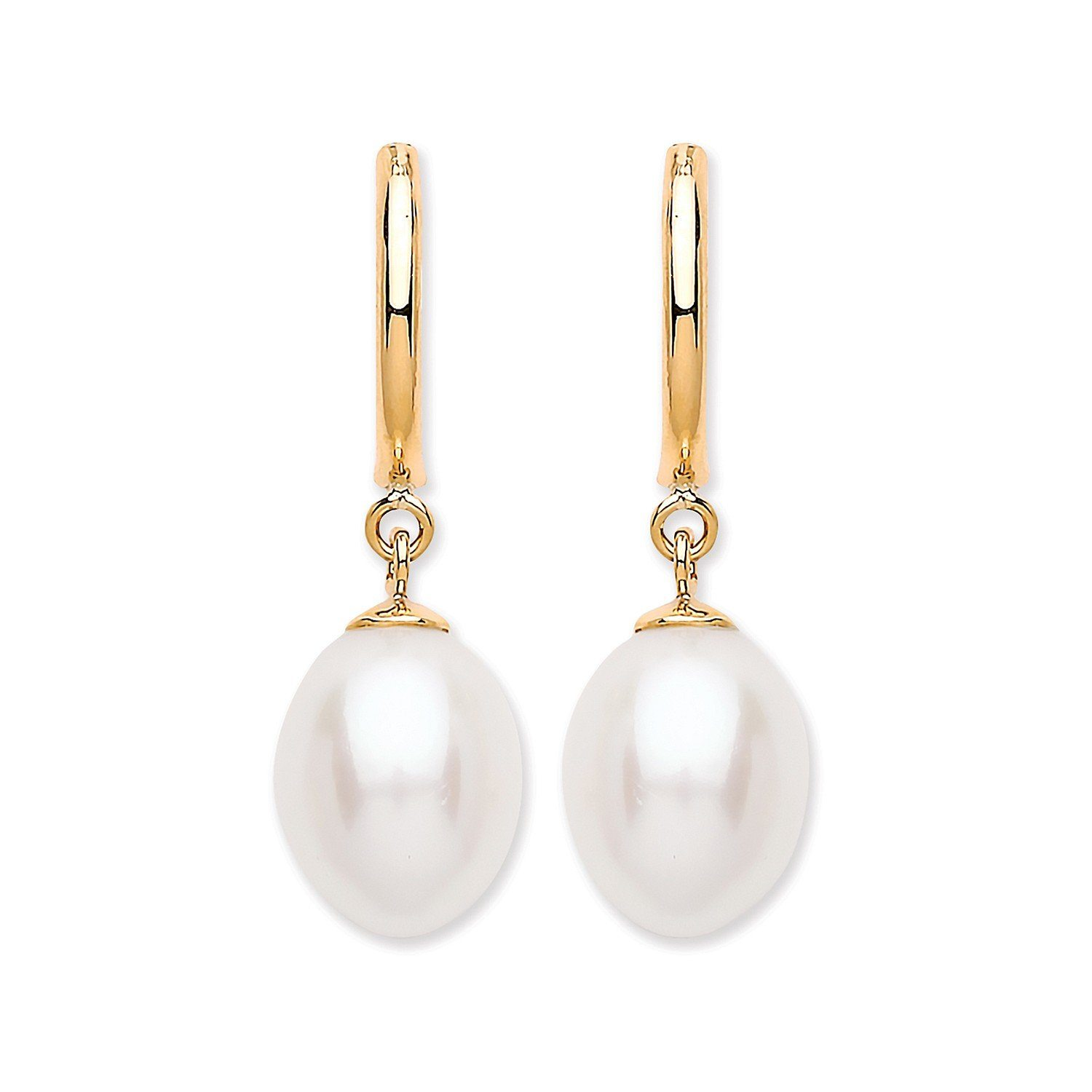 Gold Freshwater Pearl Drop Earrings Jewellery Hanron
