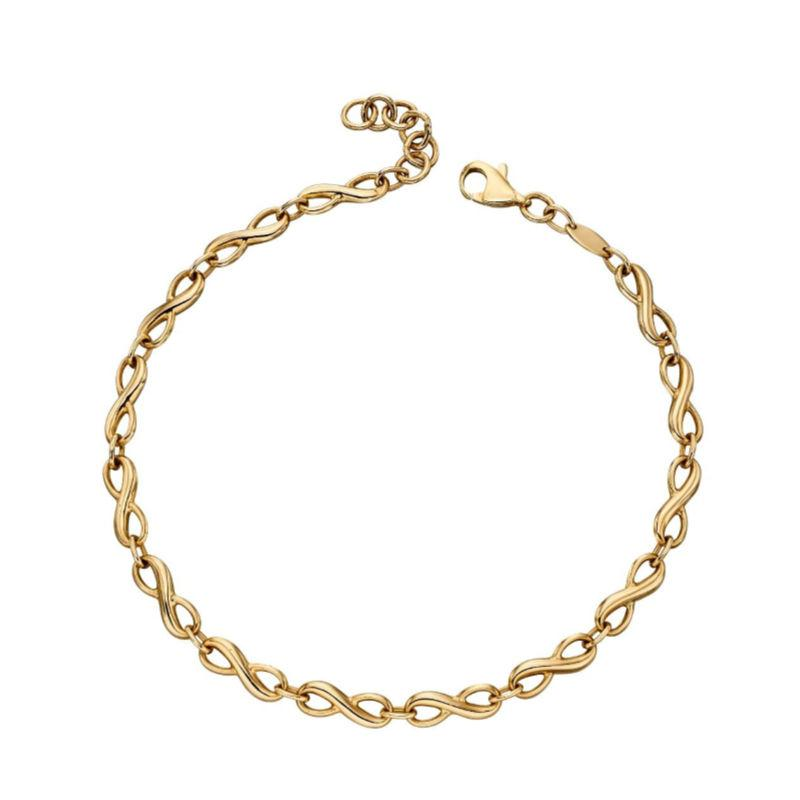 9ct yellow gold infinity bracelet with infinity signs going all the way around the bracelet