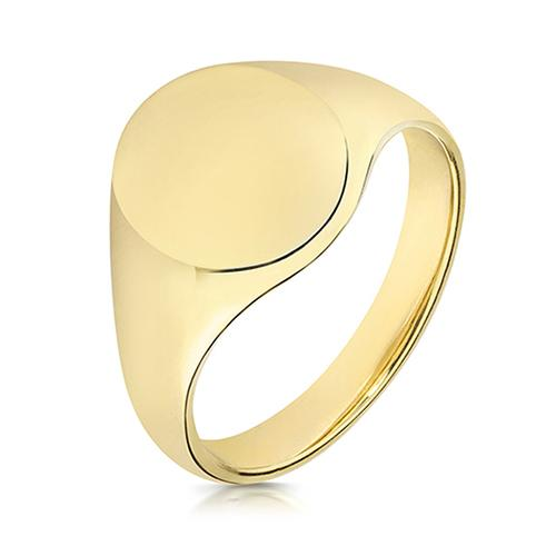 9ct Gold Highly Polished Oval Shaped Signet ring for men