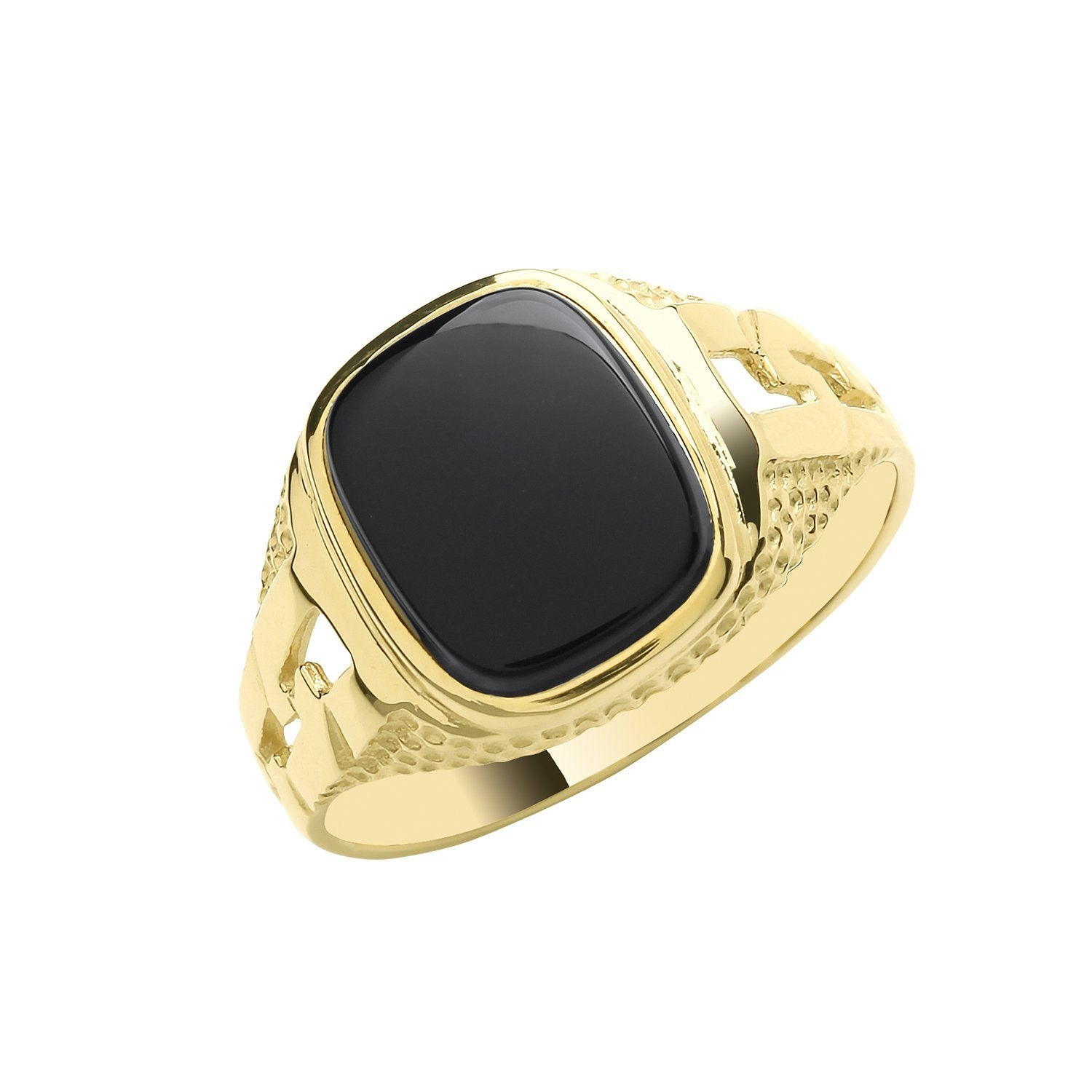 9ct Gold Onyx Cushion Signet Ring Jewellery Treasure House Limited