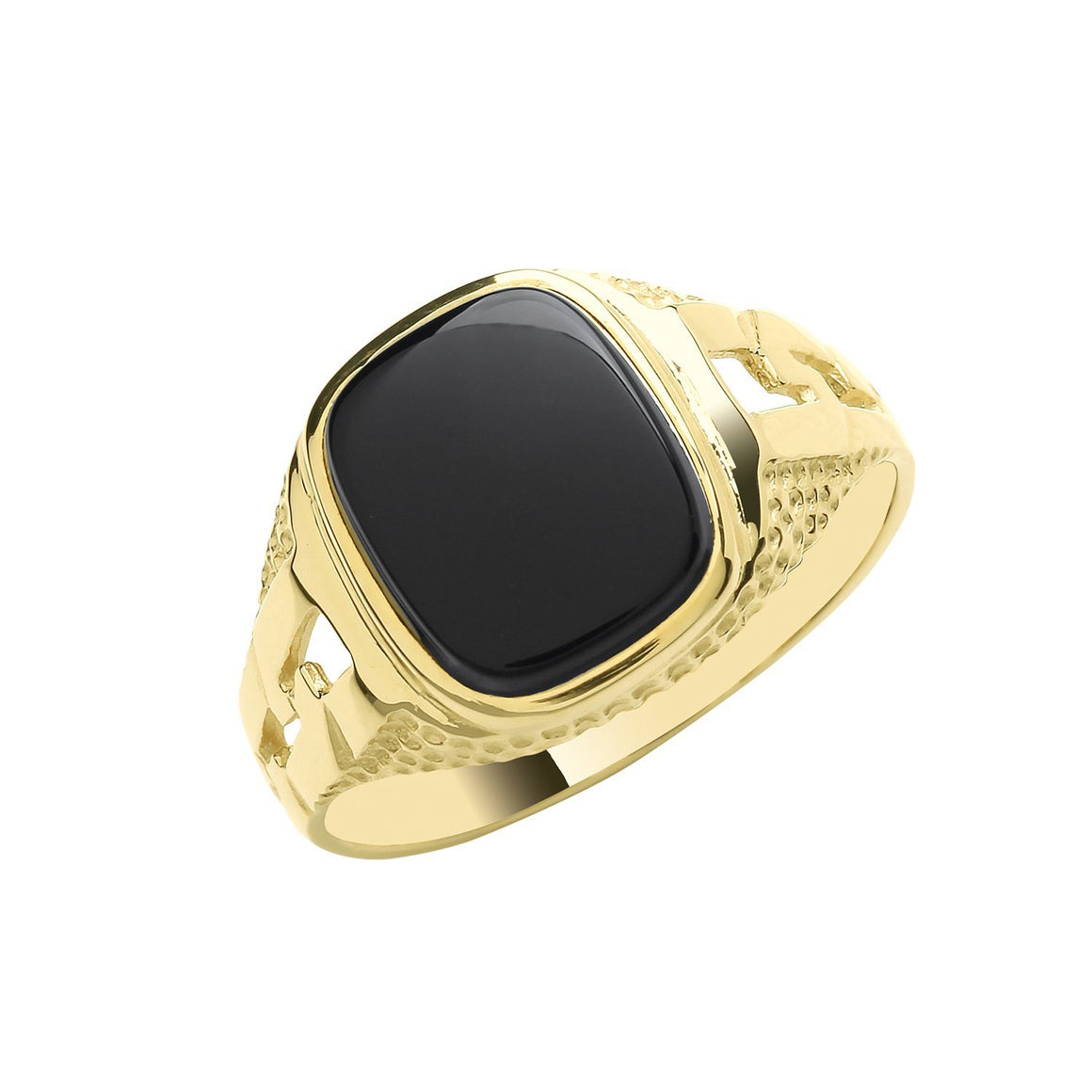 Men's 9ct gold and black onyx signet ring in a cushion design with curb link style sides