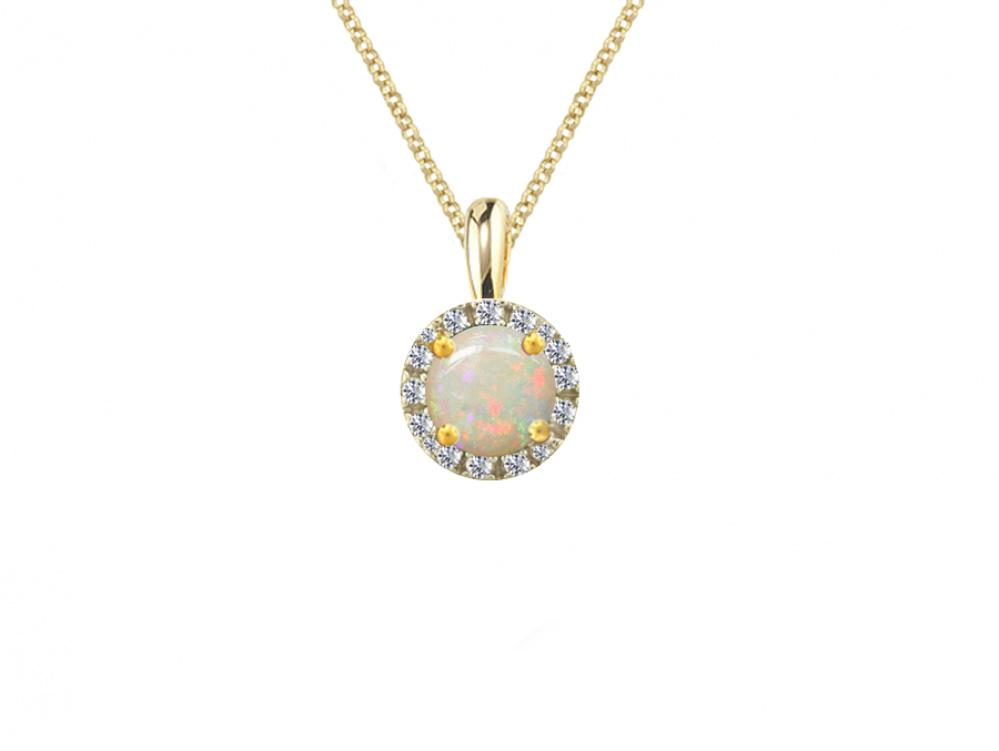 9ct Gold Opal and Diamond Pendant
