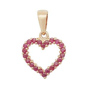 9ct Gold Ruby Open Heart Pendant