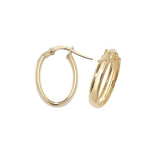 9ct Gold Oval Creole Hoop Earrings