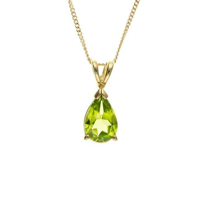 9ct Gold Peridot Teardrop Pendant Jewellery Ian Dunford