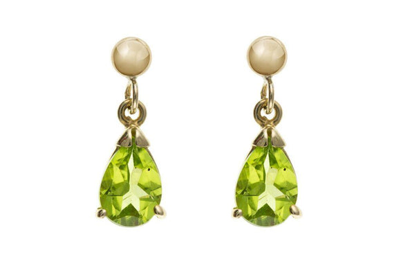 9ct Gold Teardrop Peridot Drop Earrings