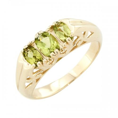 9ct Yellow Gold Peridot Trilogy Ring