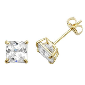 9ct Gold Princess Cut CZ Stud Earrings