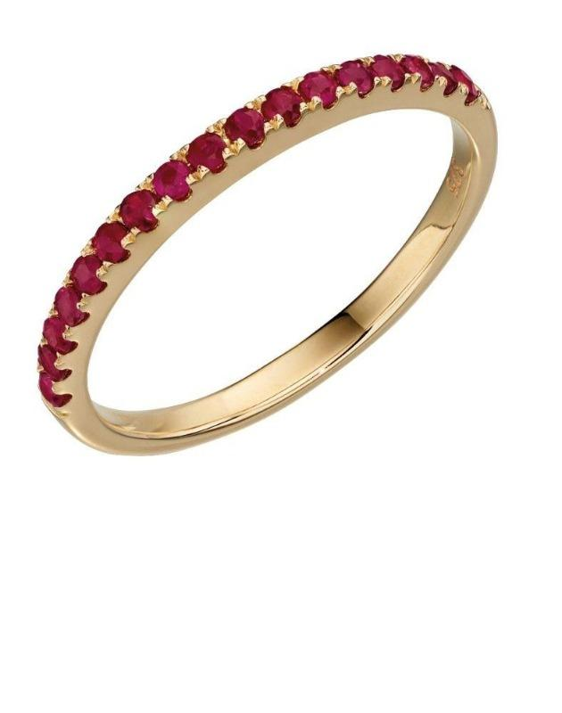 9ct gold ruby half-eternity ring