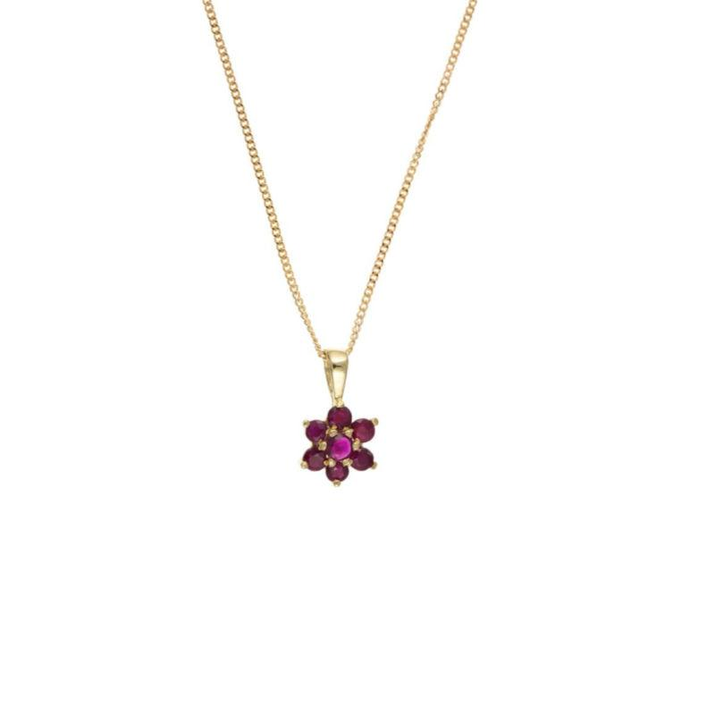 9ct Gold Ruby Flower Pendant Jewellery Ian Dunford