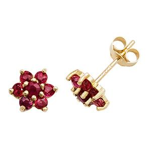 9ct Gold Ruby Flower Earrings