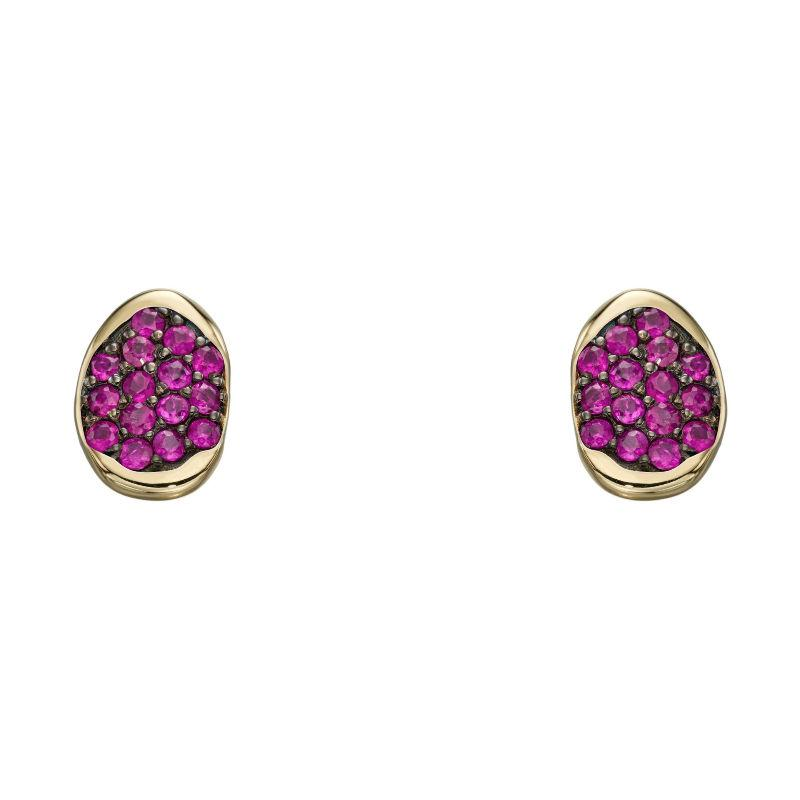 9ct Gold Ruby Pave Stud Earrings Jewellery Gecko