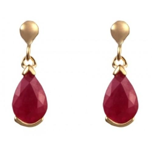 9ct Gold Ruby Pear Shaped Drop Earrings