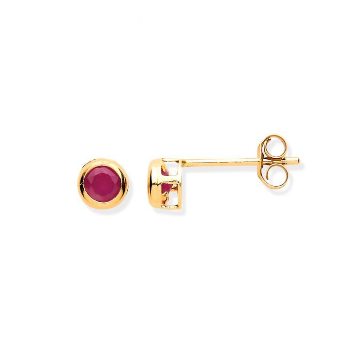 9ct Ruby Rubover Stud Earrings Jewellery Hanron