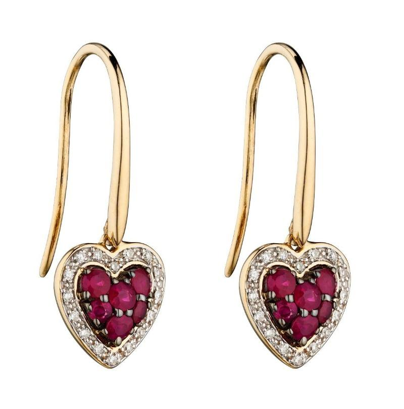 9ct Gold Ruby and Diamond Heart Earrings Carathea
