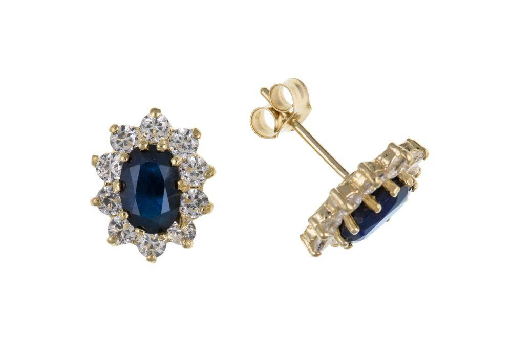 gold sapphire and cz oval cluster earrings