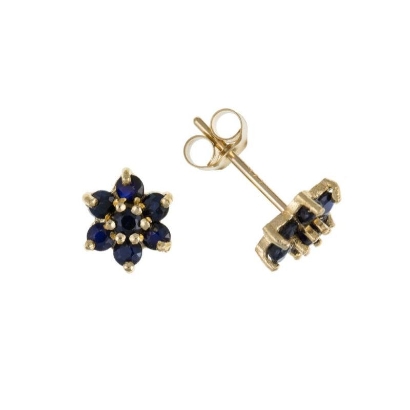 9ct Gold Sapphire Flower Stud Earrings Jewellery Ian Dunford