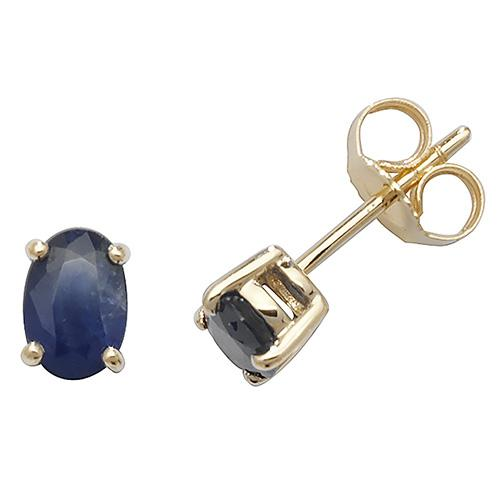 gold sapphire oval stud earrings