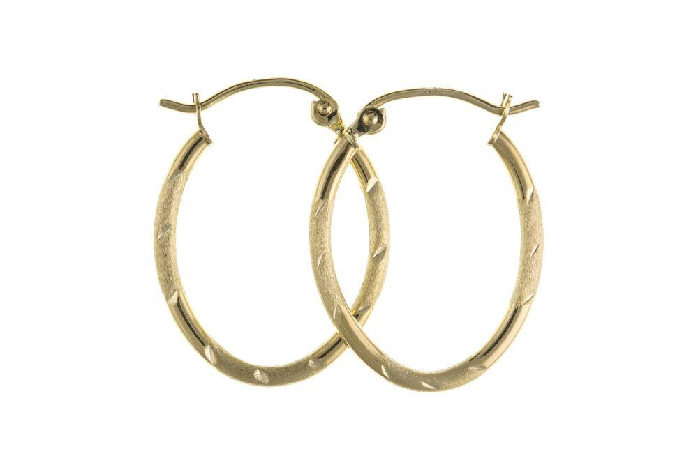 Gold Patterned Oval Creole Earrings