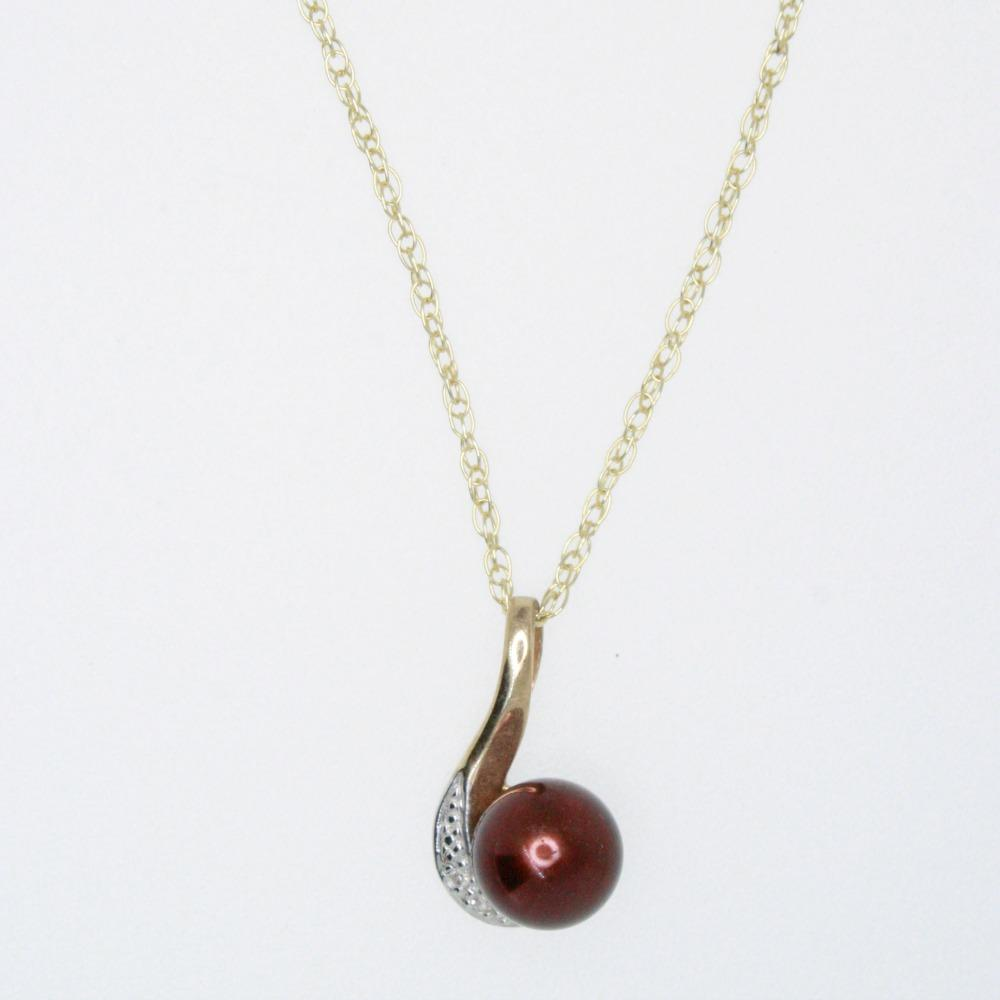 9ct Gold Pendant with Chocolate Pearl and Diamonds
